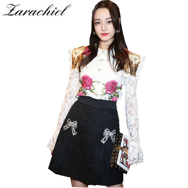 Runway Designer Skirt Suit Spring Women Retro Cat Floral Embroidery Flared Sleeve White Lace Shirt Top+Black Skirt 2 Piece Sets
