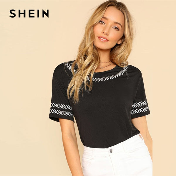 SHEIN Leaf Embroidery Trim Tee Black Round Neck Short Sleeve Clothing Women Casual T-shirt 2018 Summer Female New Top Tee
