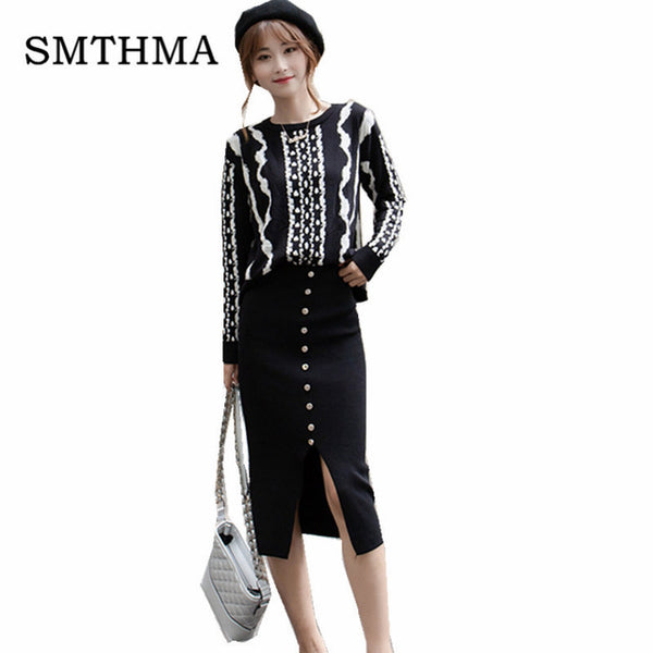 High quality Newest 2020 Designer Runway two piece Set Women's Striped Knitting Sweater +Single-breasted Skirt Suit Set