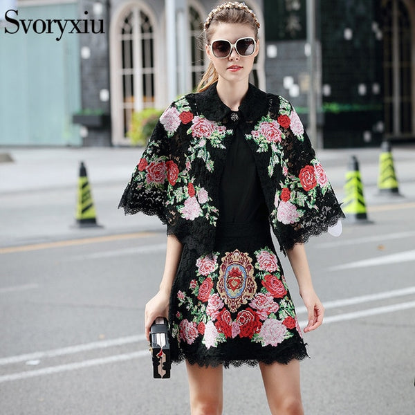 Designer 2020 Summer Skirt Suit Women's Vintage Floral Cross Stitched Black Lace Cloak + Half Skirt Clothes Set