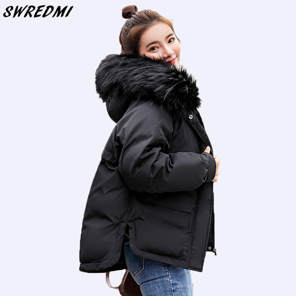 2020 Casual Loose Parkas Women Winter Coat Down Cotton Padded Short Parkas Hooded Wadded Jackets Black Clothing