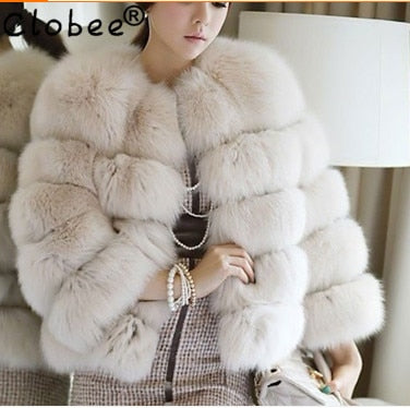 Sexy 2020 Winter Thick Warm Women Fox Fur Coat Jacket Vintage Formal Noble Short Cloth Plus Size XXXL Female Fur Jacket V703