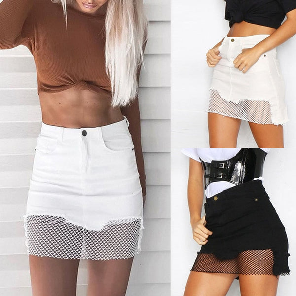 Sexy Women Denim Short Pencil Shirt Jeans Mesh High Waist Slim Mini Patchwork Skirts H9