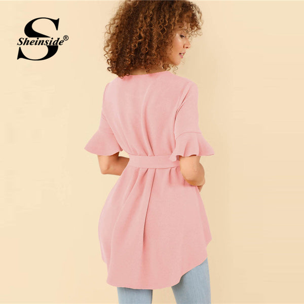 Pink Ruffle Sleeve Belted High Low Blouse Women Asymmetrical Regular Fit OL Work Elegant Summer Blouse