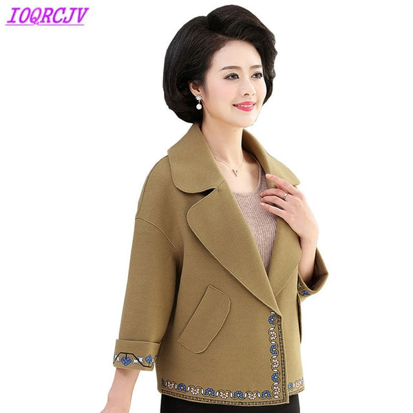 Short jacket for women 2020 spring and autumn Plus size 5XL blazer Woolen cloth coat fashion embroidery coat female  H367