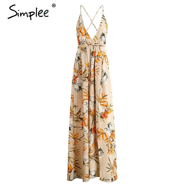 Boho flower print irregul summer dress Sexy deep v neck backless split long dress Elegant beach women dress vestidos