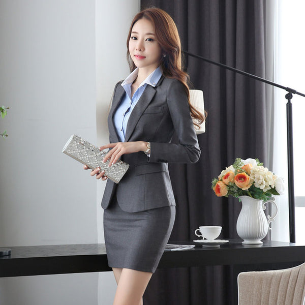 Slim Fashion Uniform Design Work Wear Suits With Jackets And Skirt Novelty Grey Professional Office Uniforms for Business Women