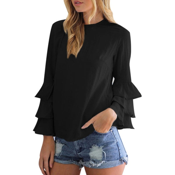 Slim Fit Boho Summer Tops For Women 2020 Long Ruffle Sleeve Vintage Formal Blouses Femme Ladies Chiffon Shirts Female Tunics Top