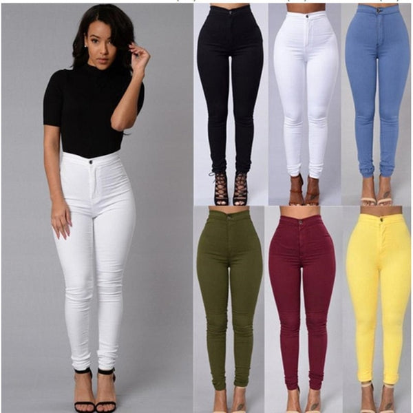 Slim Fit Skinny Jeans Woman White High Waist Render Elastic Jeans Trousers Office Vintage Long Pants Pencil Pants Denim Jeans