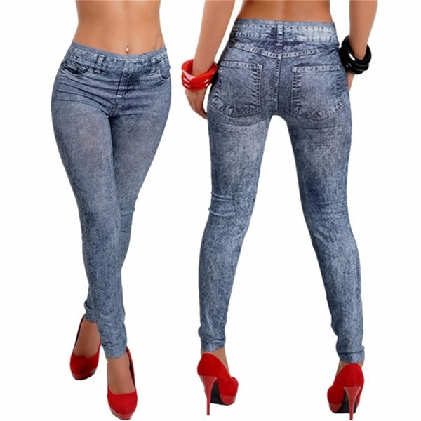 Spring Autumn New Fashion Skinny Slim Thin High Elastic Waist Washed Jeans leggings Pencil Pants Denim Leggings For Women