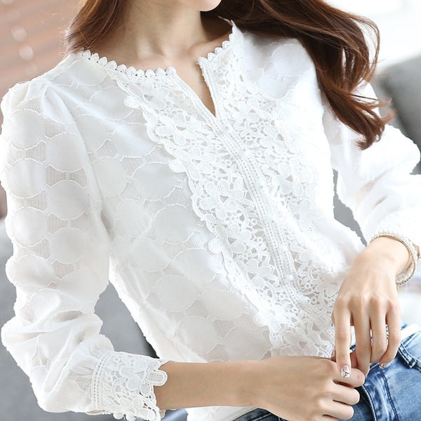 Spring Autumn Shirts Women Lace Blouse Long Sleeve OL White Blouses Crochet Blusas Casual Female Clothing Plus Size Femme Tops