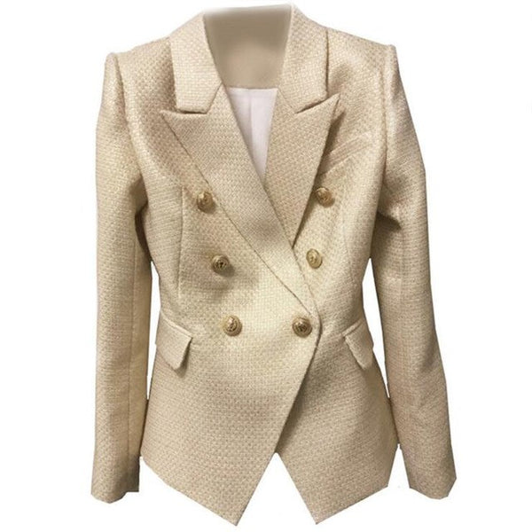 Star Style Gold Gilding Blazer Double Breasted Coats Full Sleeve OL Jackets Metal Button Cloth Blazers Good Quality Women