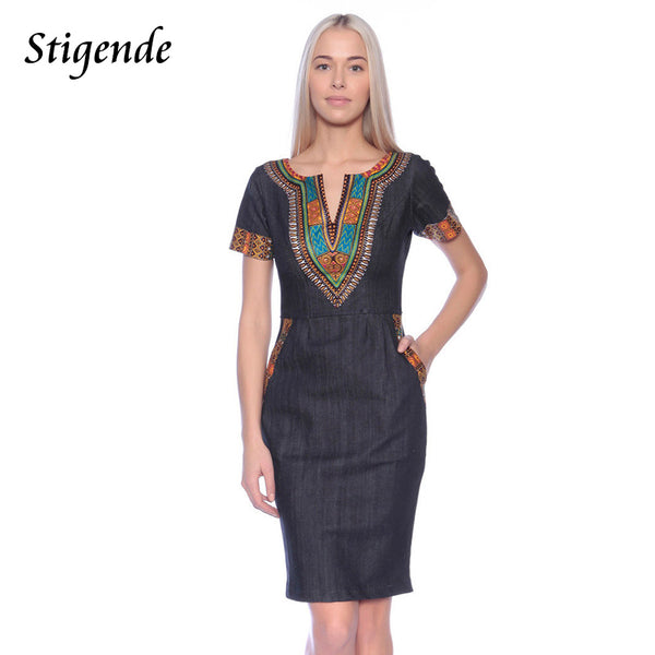 Short Sleeve Slim African Dresses for Women Back Zipper Party Knee Length Dress Boho Style 2020 African Print Clothing