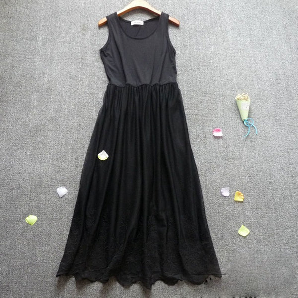 Summer Casual Sweet Floral Embroidery Dress Women's Sleeveless Sweet Soft Modal Lace Layer Black White Mori Girl Tank Dress U535