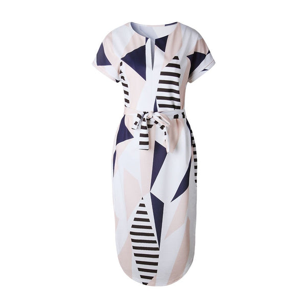 Summer Dress Women 2020 Sundress Vestidos White Print Short Sleeve Casual Plus Size Dresses XXXL Robe Femme