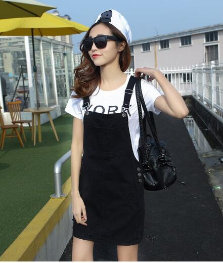 Summer Fashion Ripped Women Denim Suspender Dress A Line Preppy Mini Casual Sundress Jeans Spaghetti Strap Dress Jeans Girls