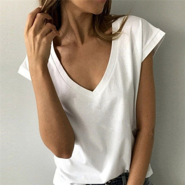 Summer White T Shirt Women Short Sleeve V Neck Loose TShirt Casual Sexy Black T Shirt Camisetas Feminina Lady Tops Tee