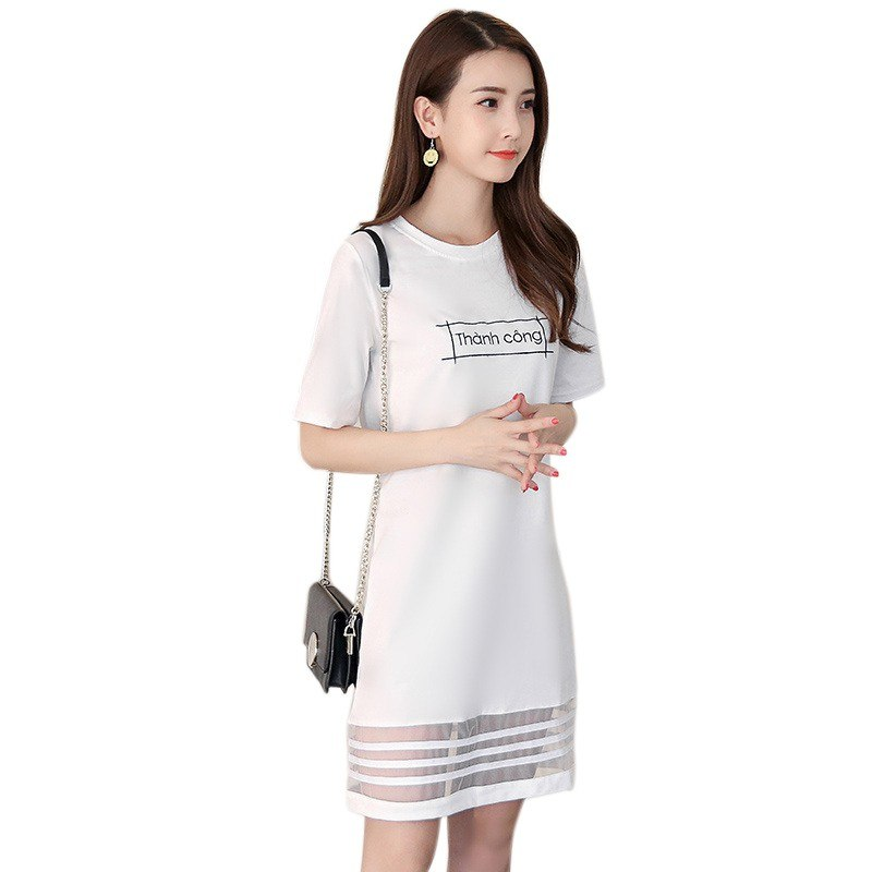 Summer Women T-shirt Dress Short Sleeve Slim Straight Dress Casual Summer  Dresses Plus Size White Black