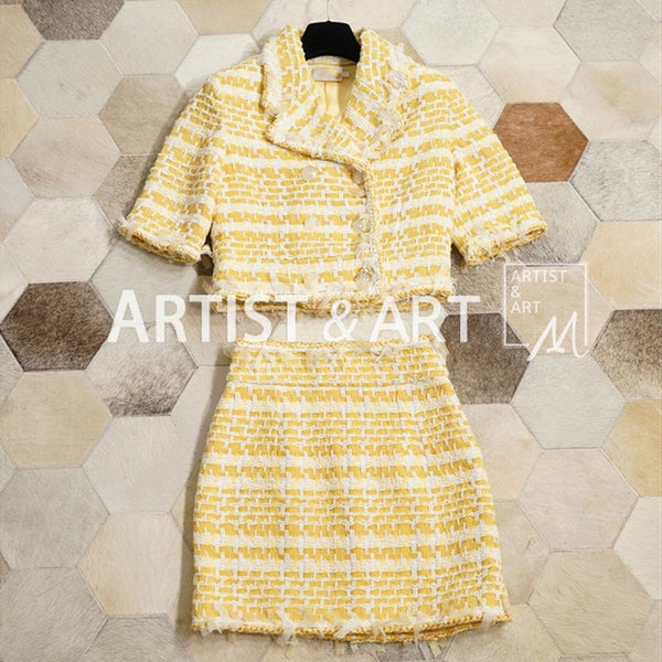 Svoryxiu Elegant Designer Skirt Suit Women's Blended Woven Yellow Coats + Package Buttocks Mini Skirts Autumn Clothes Set