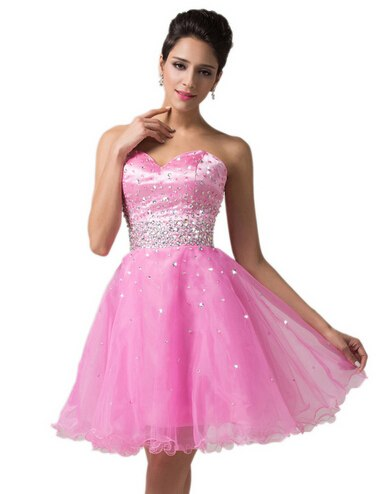Sweetheart Knee Length Deep Pink Short Prom Dresses Organza Ball Gown  Beading Dance Party Dress Sexy Bridesmaid 2017 GK6145