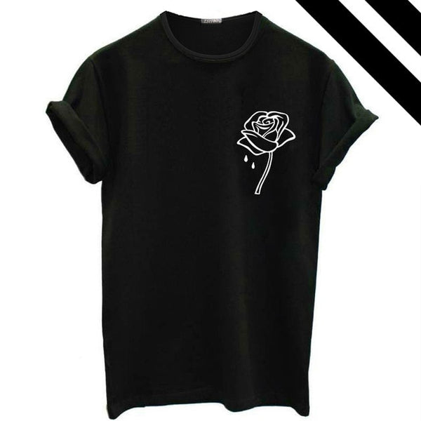 T Shirt Women Summer Women Europe Fashion Brand T Shirt Short sleeves Tops Rose Print Female Top Tee plus size Women Clothing