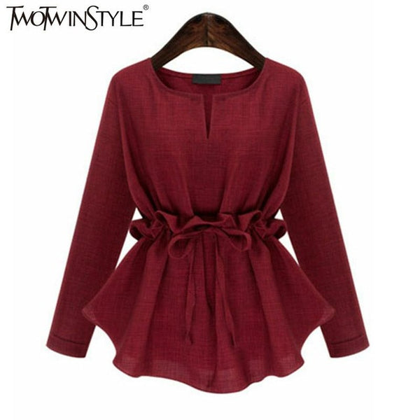 2017 Women Long Sleeves Peplum Tops Blouse Shirts Lace up Ruffle Waist Tunic Female Clothes Korean Plus Size