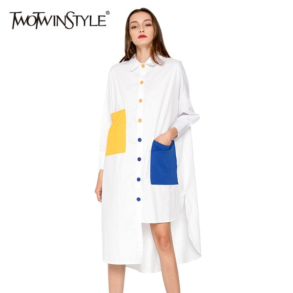 Blouse Shirt Dress Women Patchwork Midi Female Dresses Long Sleeve Oversized Casual Clothes Korean Fashion Big Size