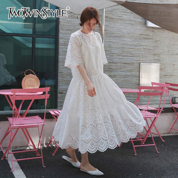 Hollow Out Dress Summer Oversize Big Hem Elegant Beach Dress Female With Spaghetti Strap Dresses 2020 Sweet Clothes