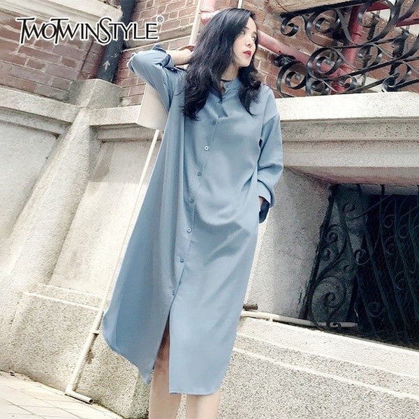 Shirt Dress Women Long Sleeve Side Split Sexy Midi Dresses Female Casual Autumn 2020 Autumn New Oversize Clothes