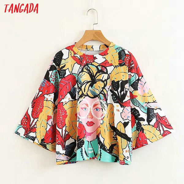 fashion woman clothes floral print street wear T-shirts Three Quarter O-neck oversize shirt female brand top tee XZ90