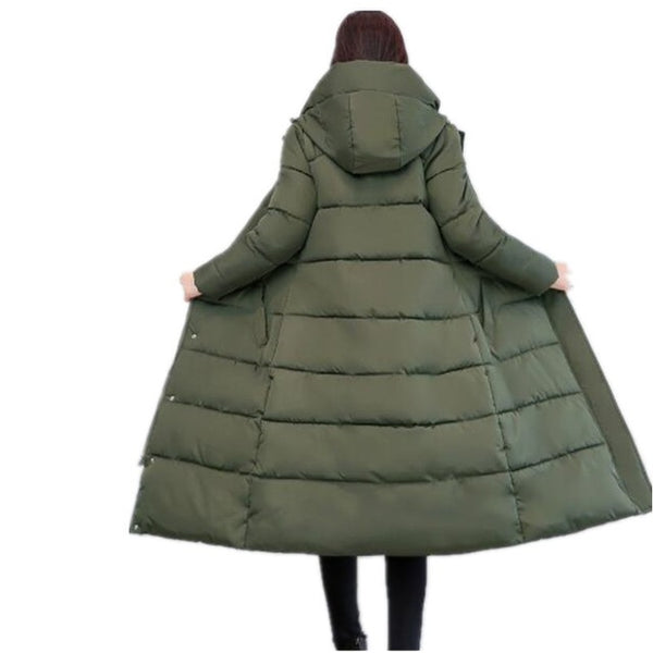 Thick 2018  women winter jacket coat down parka coat plus size Long warm Loose hooded coat loose snow wear Cotton-padded jacket