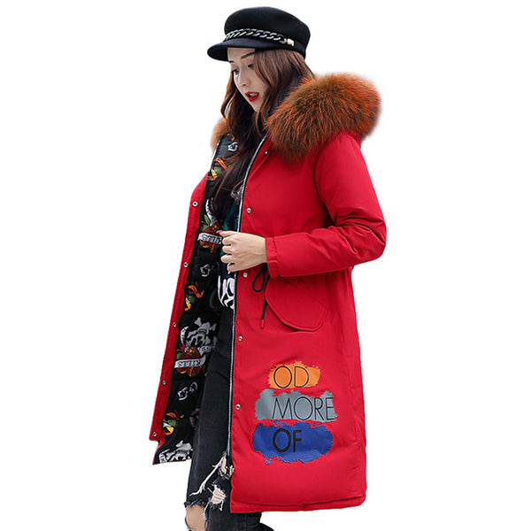 Thick Long Down Parkas Two-sided Wear Large Fur Coat 2018 New Fashion Winter Women Hooded Down Cotton Padded Jacket Coat Female