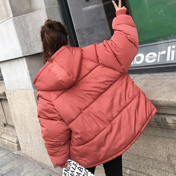 Thick Warm Hooded Down Cotton Parkas Women Winter Coat Cotton Padded Jacket 2020 NEW Loose Short Outerwear Female Clothing