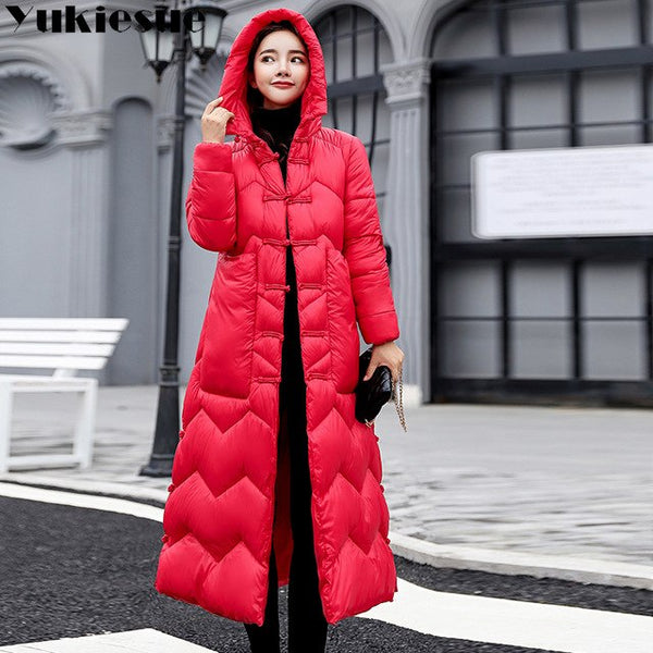 Thick  women winter jacket coat down parka coat plus size Long warm Loose hooded coat classica snow wear Cotton-padded jacket