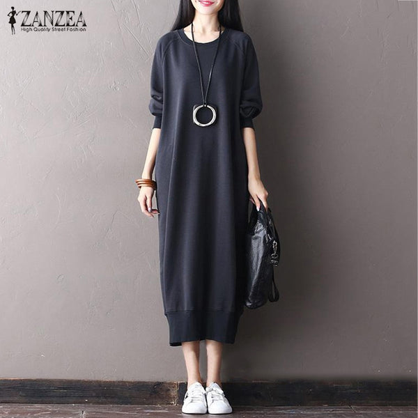 Top Fashion Autumn Women Solid O Neck Long Sleeve Casual Pockets Pullover Vestido Elegant Long Sweatshirt Dress Plus Size