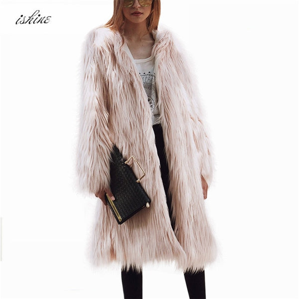 Top Grade White Long Faux Fox Fur Coat Woman Black Long Sleeve Faux Fur Coat With Fur Hooded Casaco Pink Green Plus Size M-3XL