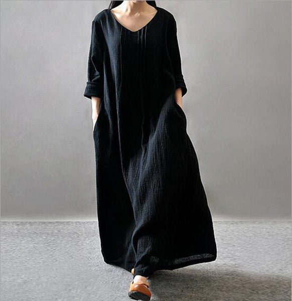 Trendy Plus Size Casual Dresses 2017 Long Loose Womens Dress Cotton Linen Long Sleeve Maxi Dress Vintage Tops Kaftan Clothing