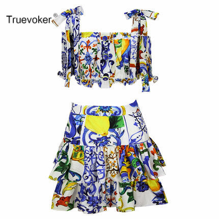 Summer Designer Resort Set Women Short Sleeve Vintage Porcelain Printed Crop Top + Ruffle Layer Cotton Skirt Suit