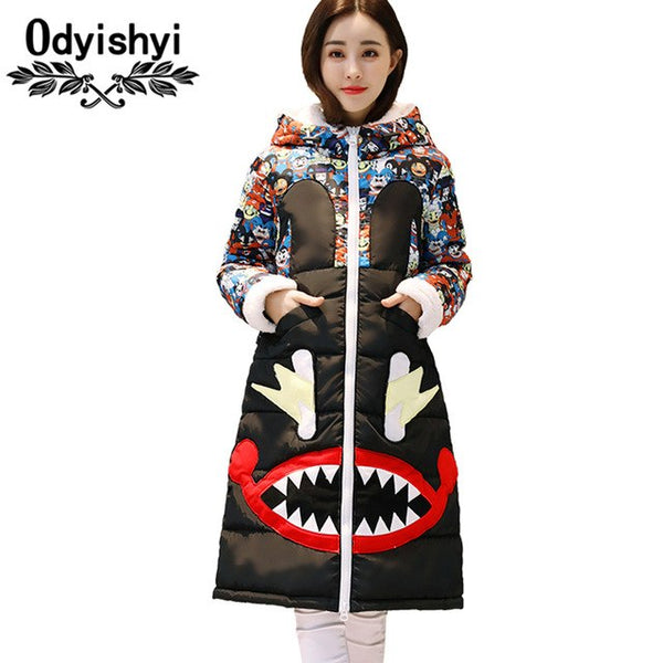 Ukraine Hooded Printed Thicker Winter Down Cotton Jacket Women Long Coat 2018 Plus size padded Coats Casual Female Parkas HS375