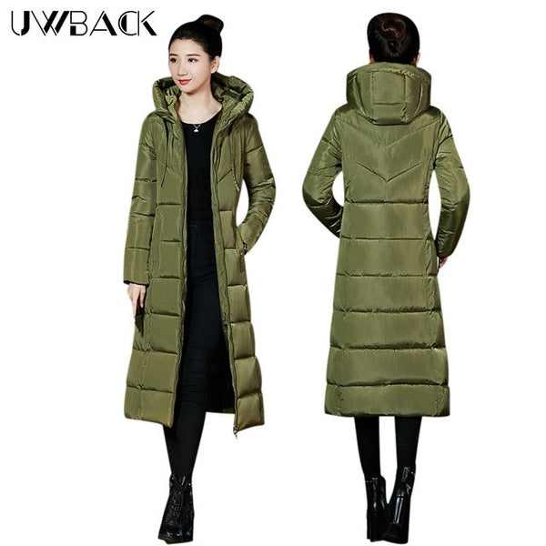 4e4f328e52d67 Women s Winter Coats Thickening Parka Hooded Plus Size Slim X-Long Jackets  Female Black Gray