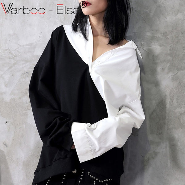 Black white Blouse For Women Stand Collar long Sleeve Basic Shirt Spring Ladies ulzzang oversize Tops 2020 Clothing