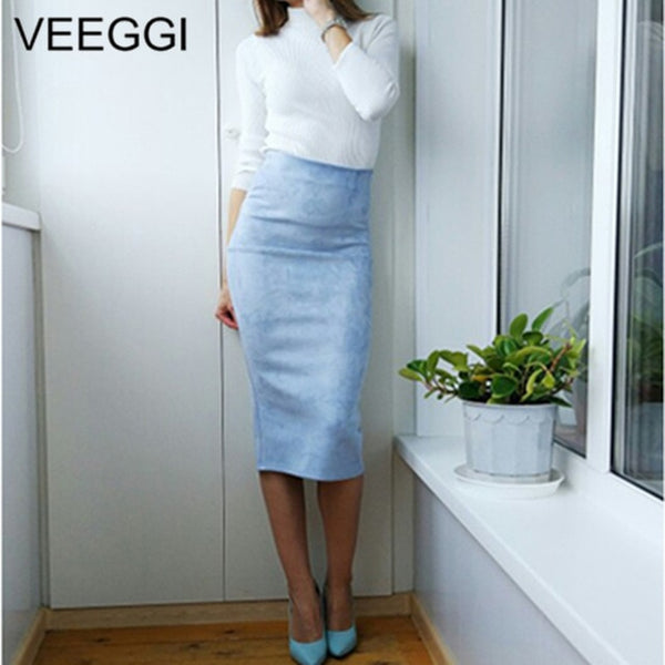 VEEGGI 2020 New ArrivalMulti Color Suede Midi Pencil Skirt Women Fashion Elastic High Waist Office Bodycon Long Skirts A1707057