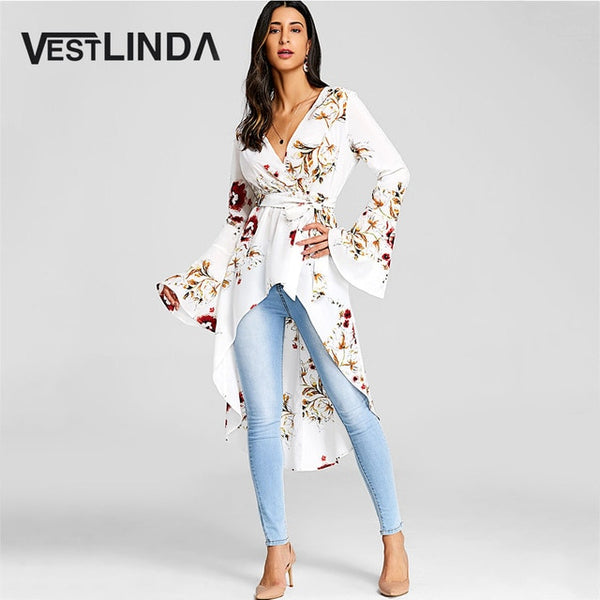 Women Bell Sleeve Floral High Low Fishtail Top Blouse Fashion Casual Plunging Neck Long Sleeves Long Blouses Blusas