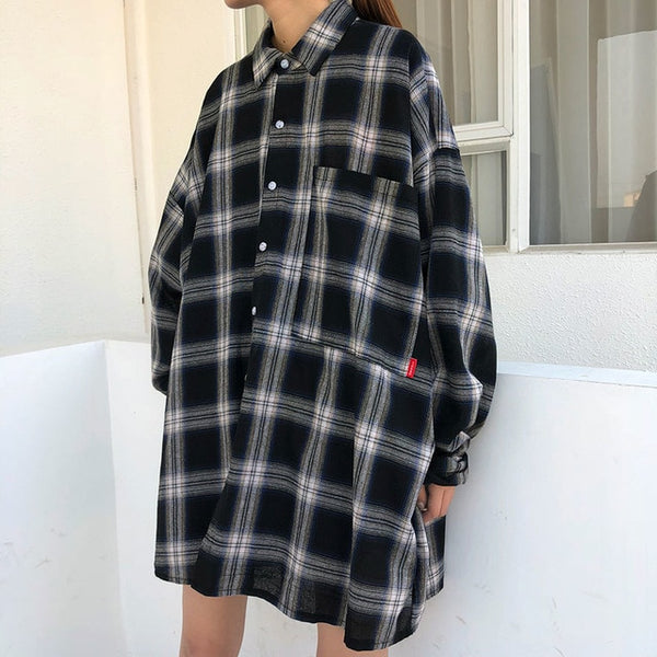 WKOUD EAM Clothes / 2020 New Fashion Loose Casual Oversize Shirt Long Sleeve Turn Down Collar Women's Plaid Blouse YE121