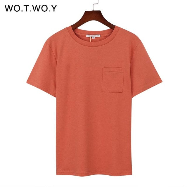 Wotwoy Summer Short Sleeve Top Tee Shirt Women Simple Pocket Design