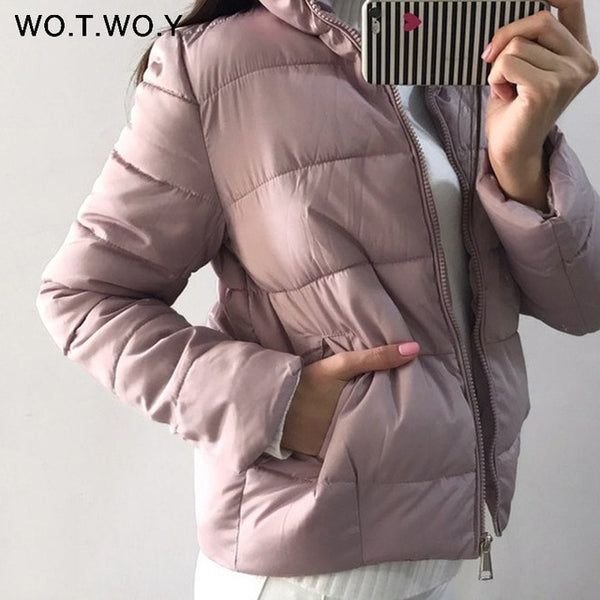 WOTWOY Thick Warm Winter Jacket Women 2018 Basic Padded Down Parkas Women Slim Pink Parka Female Short Coats Basic Outerwear New