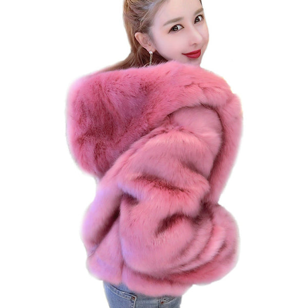 Warm Autumn Winter Faux Fox Fur Coats For Women Thicken Fashion Shorts Hooded Jackets Black Pink Fur Coats Female Streetwear