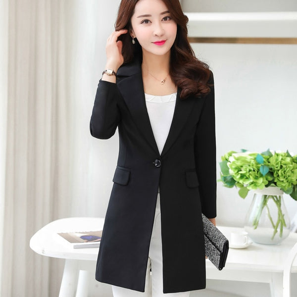 White Black Women Blazers And Jackets 2020 Spring Autumn Fashion Single Button Blazer Femenino Ladies Blazer Female Plus Size