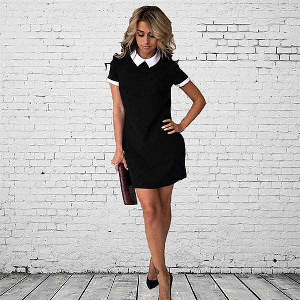White Coll Summer Cute Peter Pan Coll Scho Preppy Style Short Sleeve Summer Mini Dresses Ladies Office Dress
