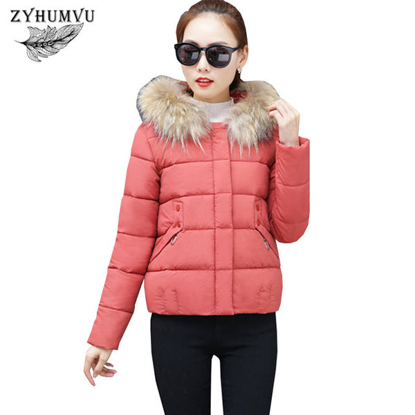 Winter Down Cotton Jacket Female 2020 New Short Padded Coat Thicken Student Large size Outwear Big Fur collar Women Jackets ZY65